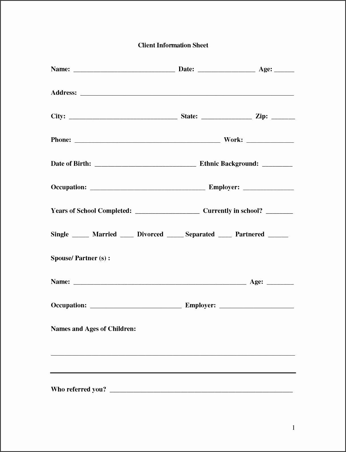 Customer Information Sheet Template Elegant 11 Client Database Sheet Template Sampletemplatess