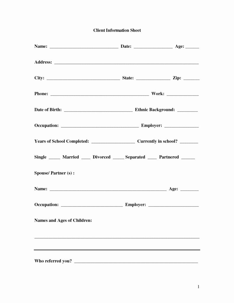 Customer Information Sheet Template Fresh 8 Client Information Sheet Templates Word Excel Pdf formats