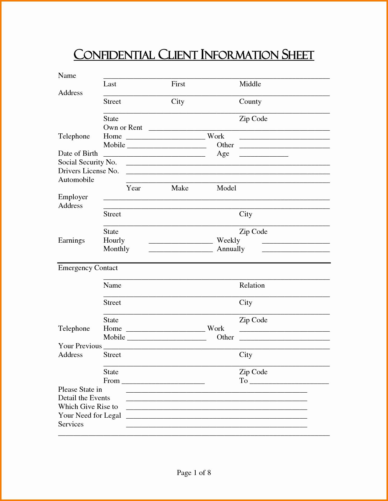 Customer Information Sheet Template Inspirational Client Information Sheet