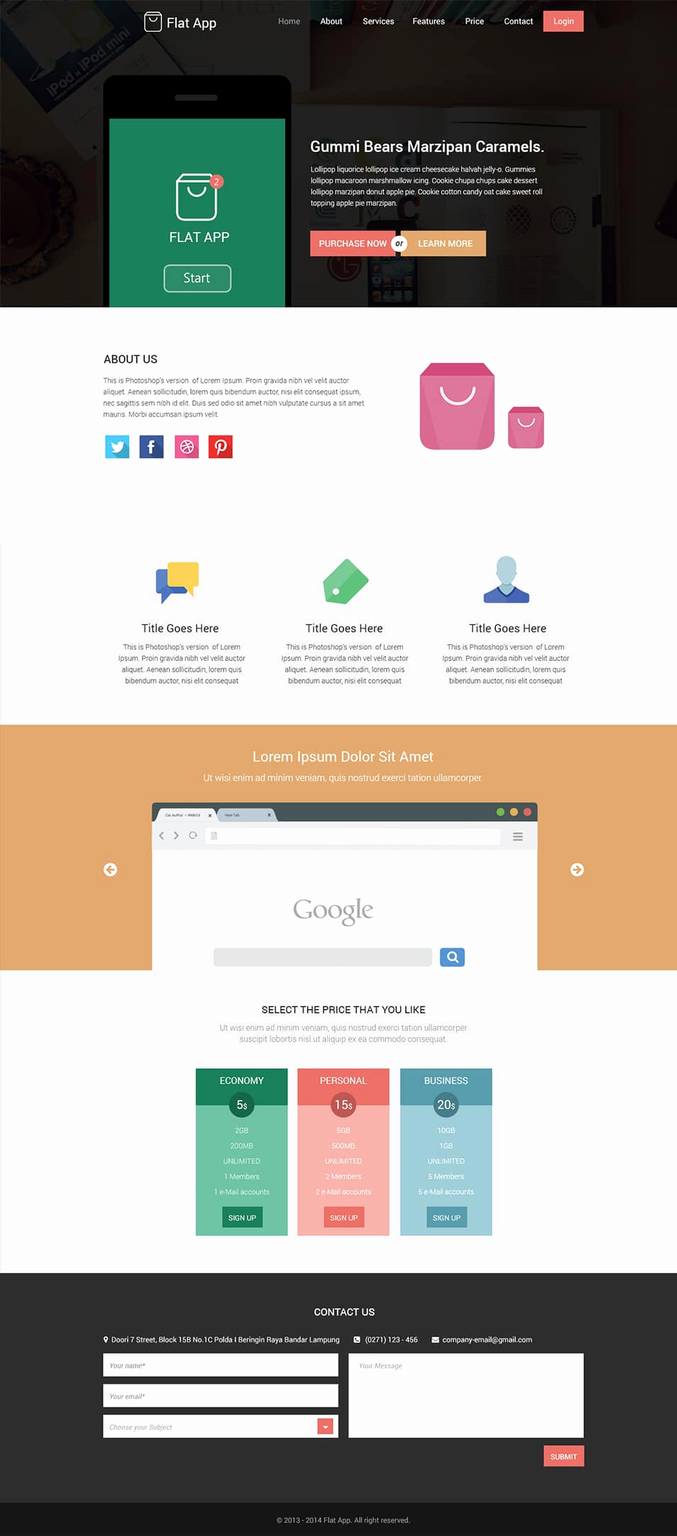 Download Free Web Templates Awesome Flat Website Template Psd Download Free Website Template
