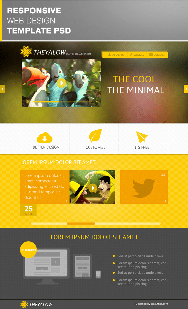 Download Free Web Templates Fresh theyalow A Responsive Web Design Template Psd for Free
