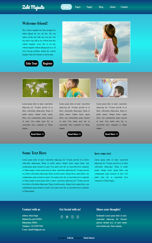 """Download Free Web Templates New Download Website Template for Free """"zubii Majestic"""