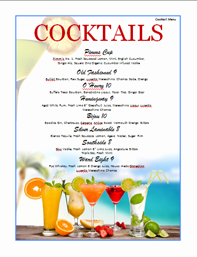 Drink Menu Template Free Awesome Cocktail Menu Template Microsoft Word Templates