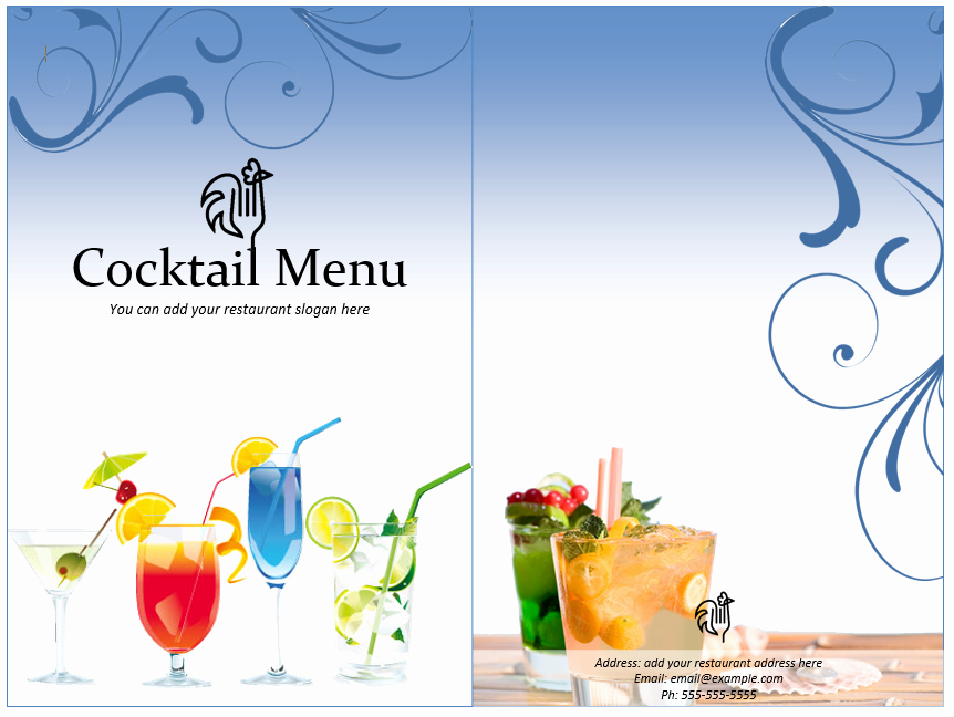 Drink Menu Template Free Awesome Cocktail Menu Template Word Templates