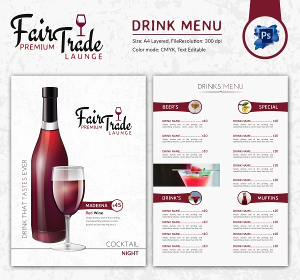 Drink Menu Template Free Awesome Drink Menu Template – 25 Free Psd Eps Documents Download