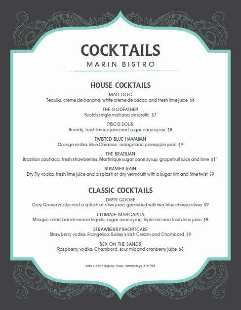 Drink Menu Template Free Beautiful Frozen Cocktail Menu