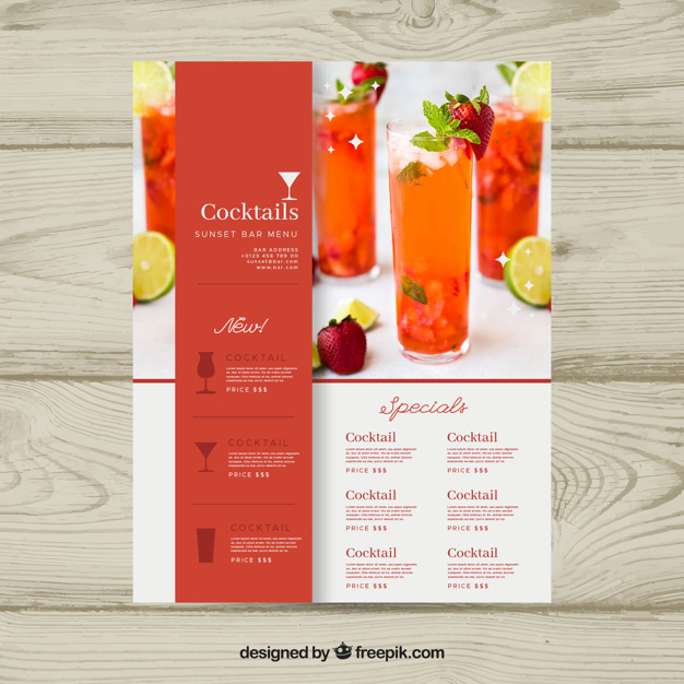 Drink Menu Template Free Best Of Cocktail Menu Template with Photo Vector