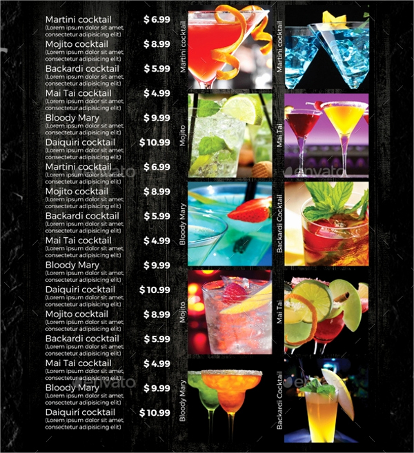 Drink Menu Template Free Elegant 21 Sample Drink Menu Templates