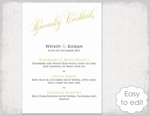 Drink Menu Template Free Fresh Cocktail Menu Template Printable Gold Wedding Signature Drinks