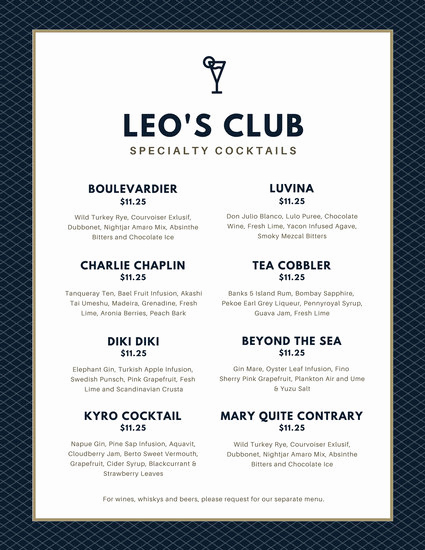 Drink Menu Template Free Fresh Navy Blue Grid Pattern Cocktail Menu Templates by Canva