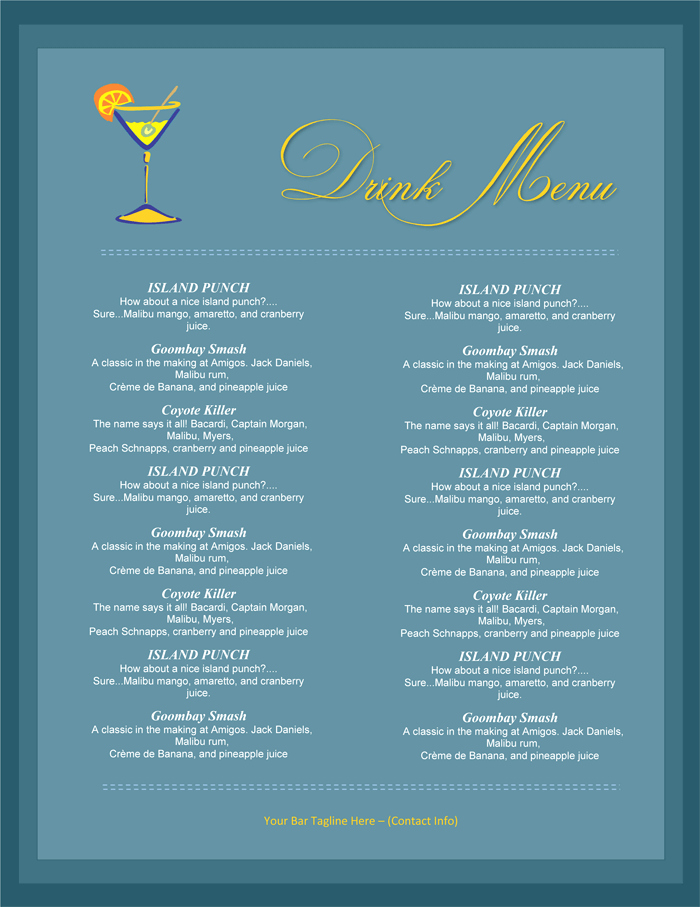 Drink Menu Template Free Luxury 5 attractive Drink Menu Templates for Your Bar Business