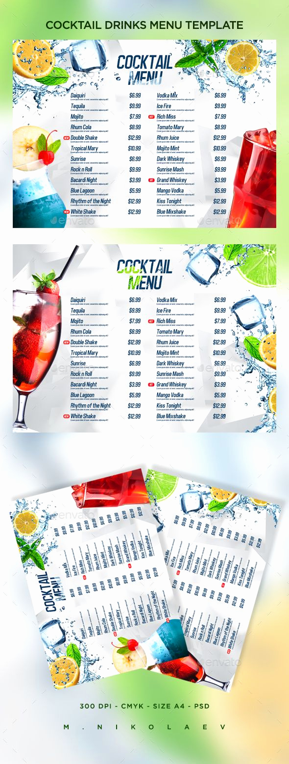 Drink Menu Template Free Luxury Cocktail Drinks Menu V8