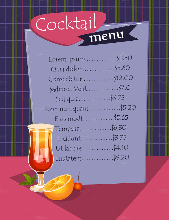 Drink Menu Template Free Luxury Cocktail Menu Templates – 54 Free Psd Eps Documents
