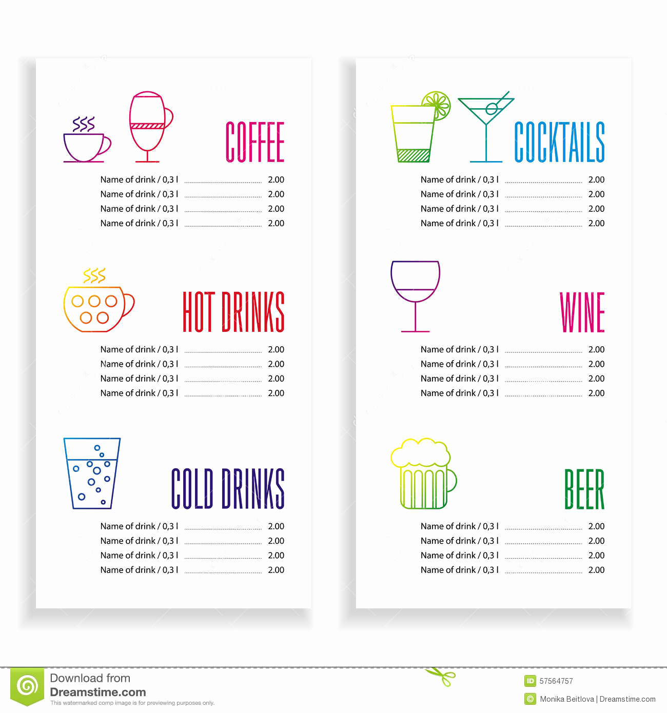 Drink Menu Template Free Luxury Drink Menu Template Stock Vector Illustration Of Drink