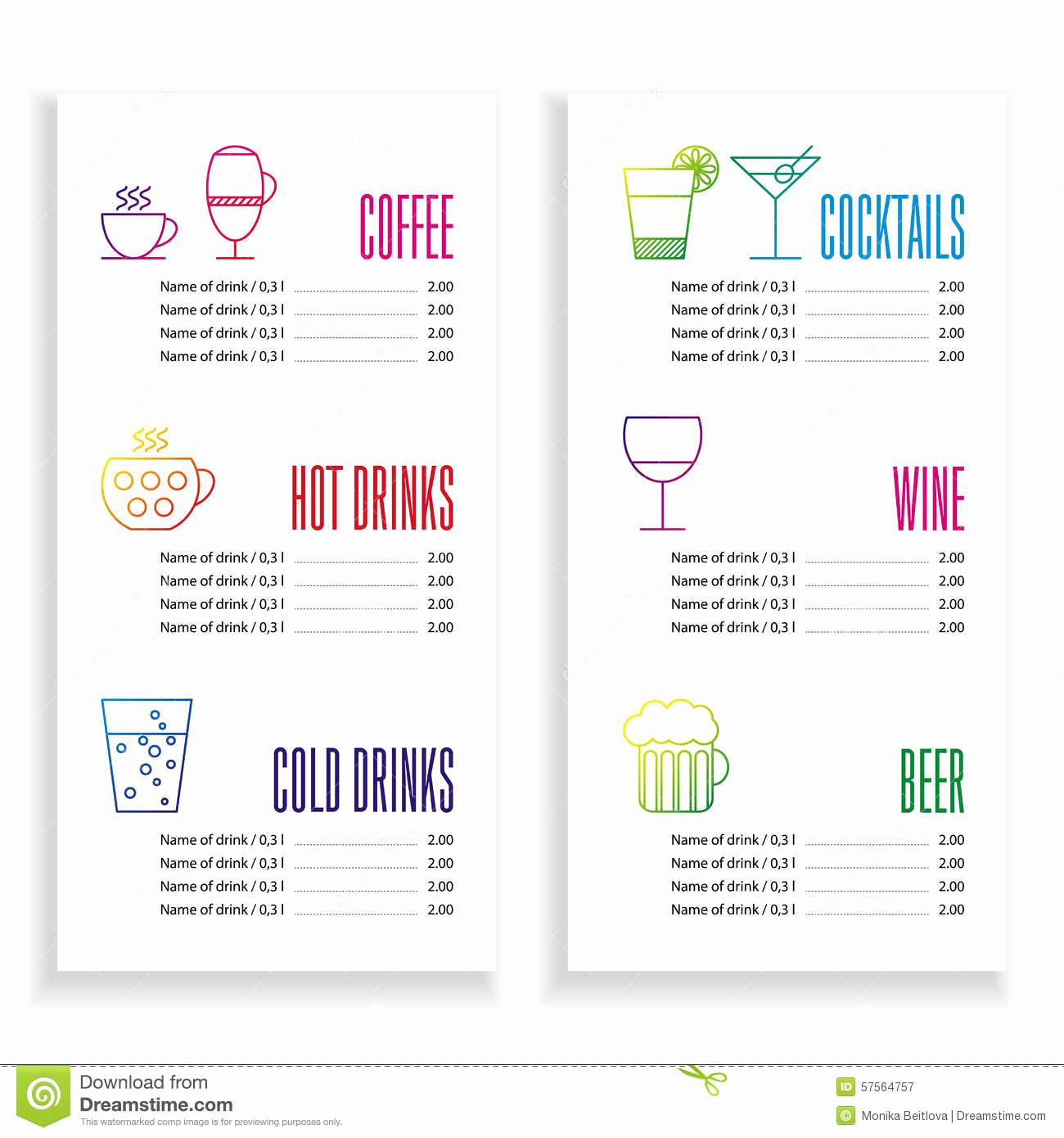 Drink Menu Template Free Luxury Drink Menu Template Stock Vector Illustration Of Drink