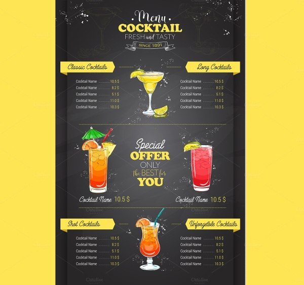 Drink Menu Template Free New 19 Vintage Menu Templates Ai Pages Psd Docs