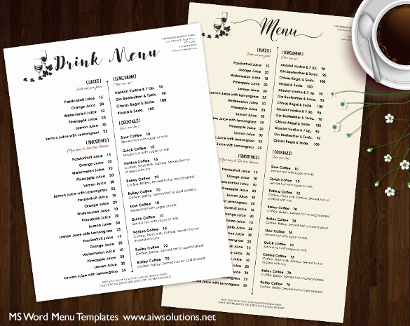 Drink Menu Template Free New 37 Wedding Menu Template – Free Sample Example format