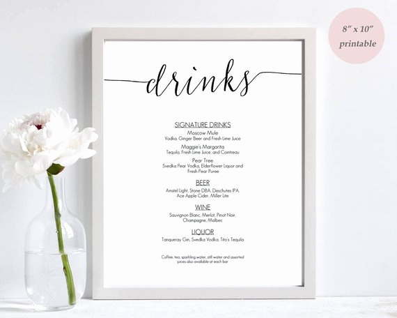 Drink Menu Template Free New Drinks Menu Template Printable Wedding Bar Sign Editable