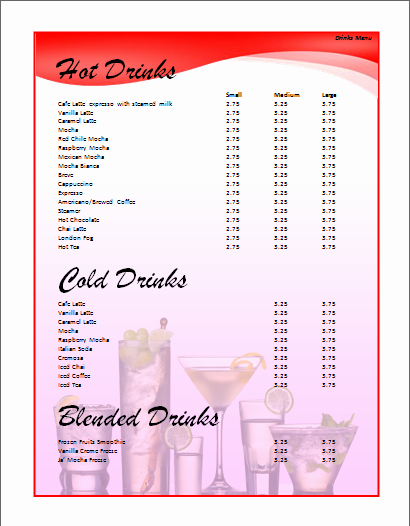 Drink Menu Template Free Unique Menu Templates Archives Microsoft Word Templates