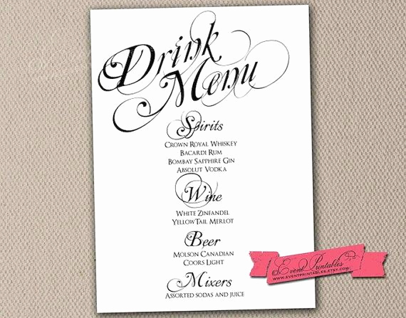 Drink Menu Template Free Unique Printable Drink Menu Card Diy Wedding Reception Drinks