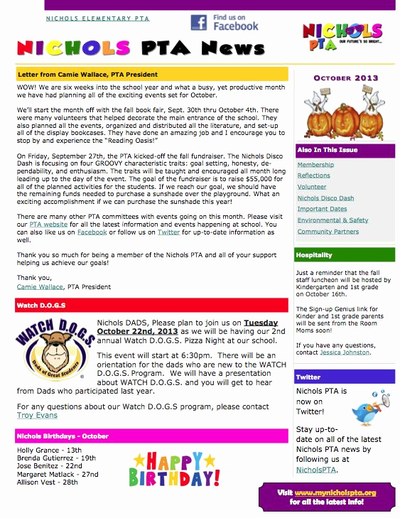 Elementary School Newsletter Template Beautiful 64 Best Images About Pta On Pinterest