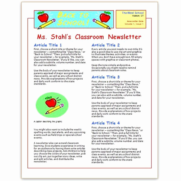 Elementary School Newsletter Template Beautiful Behavior Plan Template for Elementary Students Templates