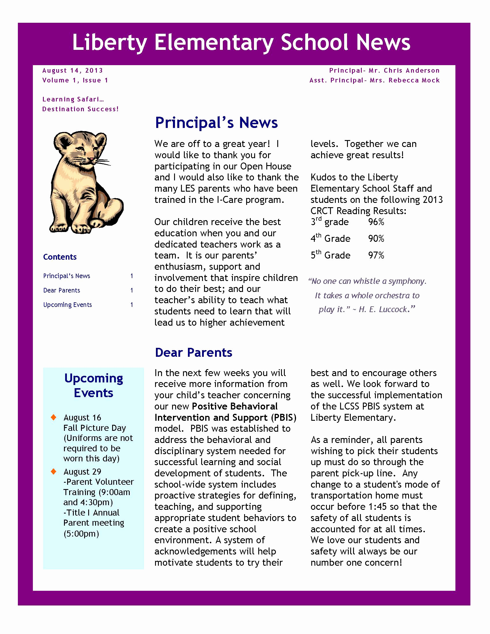 Elementary School Newsletter Template Best Of August 2013