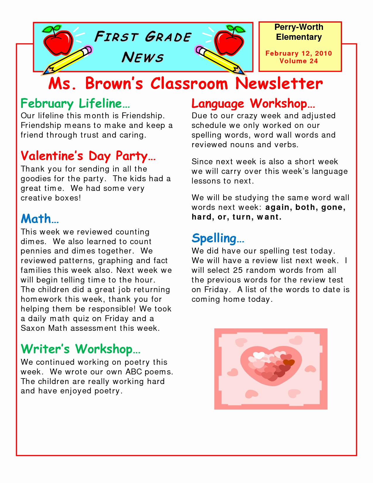 Elementary School Newsletter Template Elegant 5 Best Of Elementary Classroom Newsletter Template