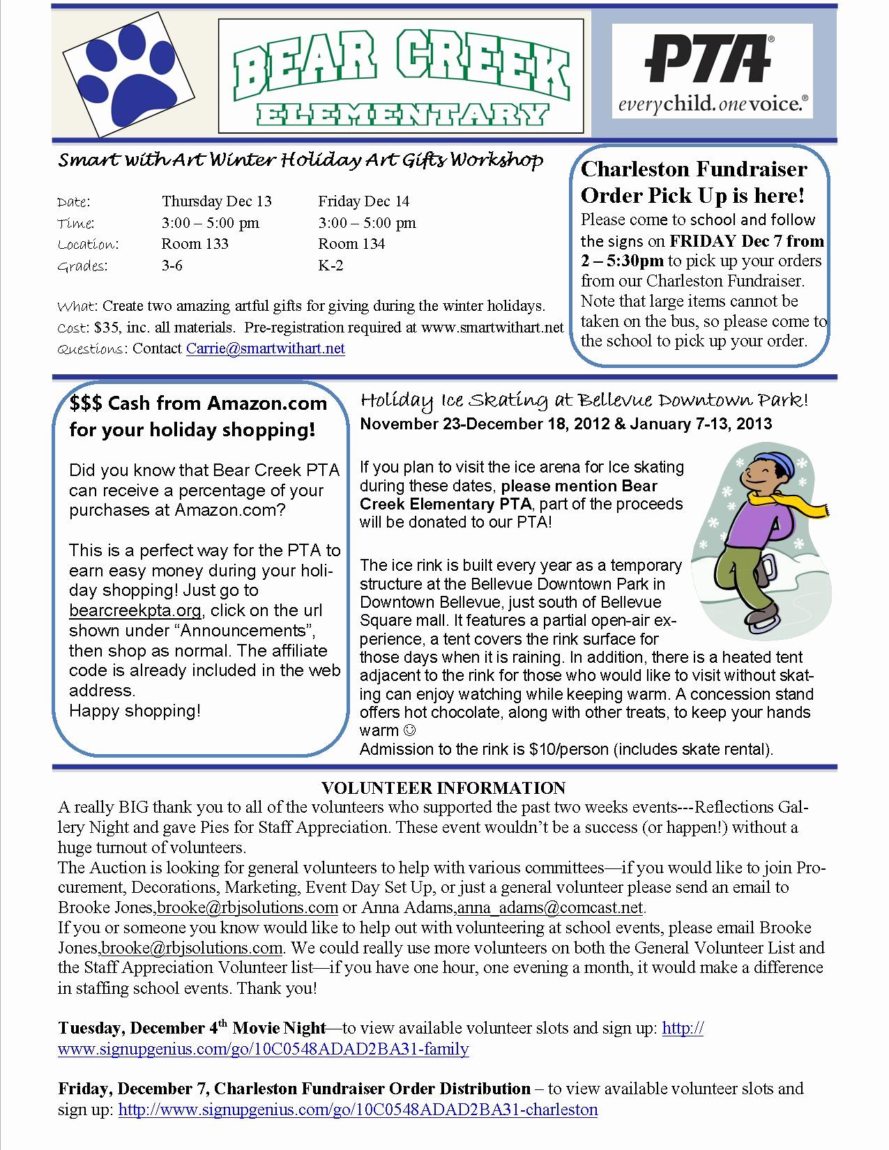 Elementary School Newsletter Template Elegant Pta Newsletter December 4