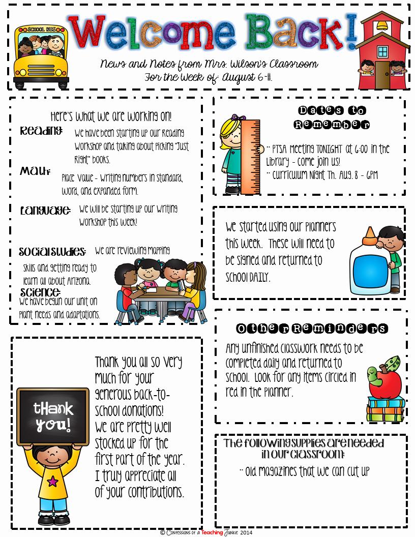 Elementary School Newsletter Template Elegant Seasonal Classroom Newsletter Templates for Busy Teachers