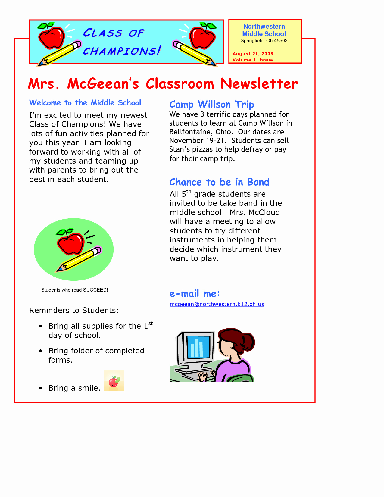 Elementary School Newsletter Template Inspirational Classroom Newsletter Template