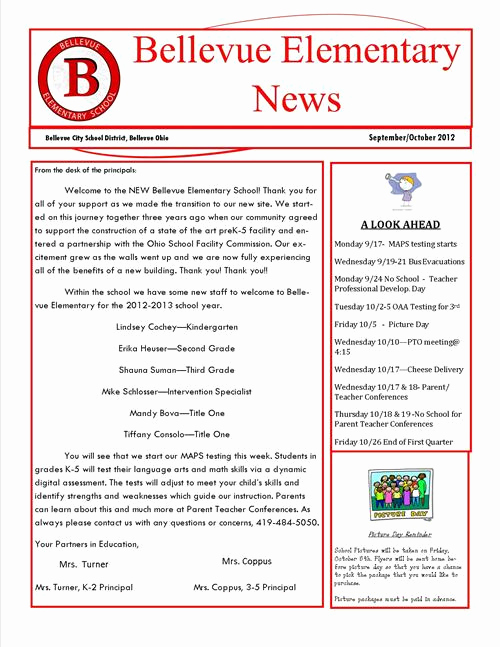 Elementary School Newsletter Template Inspirational Elementary School Newsletters Elementary Newsletter Ideas