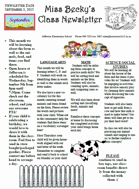 Elementary School Newsletter Template Inspirational Monthly Classroom Newsletters Jefferson Elementary School