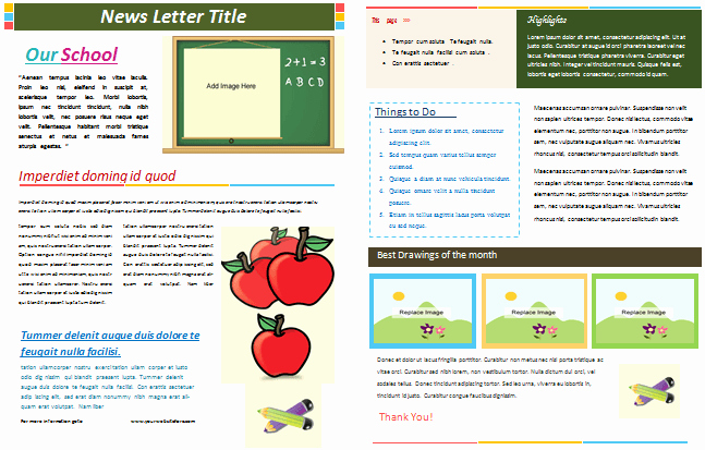 Elementary School Newsletter Template Inspirational School Newsletter Templates for Classroom and Parents