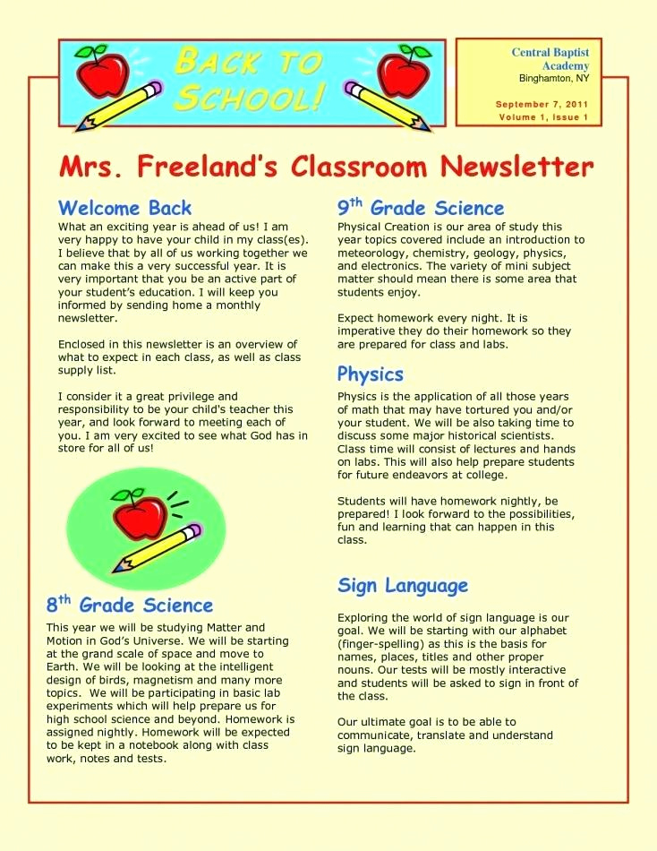 Elementary School Newsletter Template Lovely 14 15 Elementary School News Letter