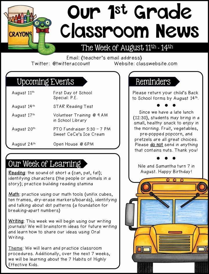 Elementary School Newsletter Template Lovely School Newsletter Templates