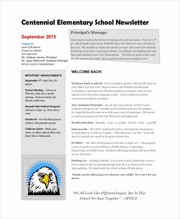 Elementary School Newsletter Template Luxury 8 Sample School Newsletters