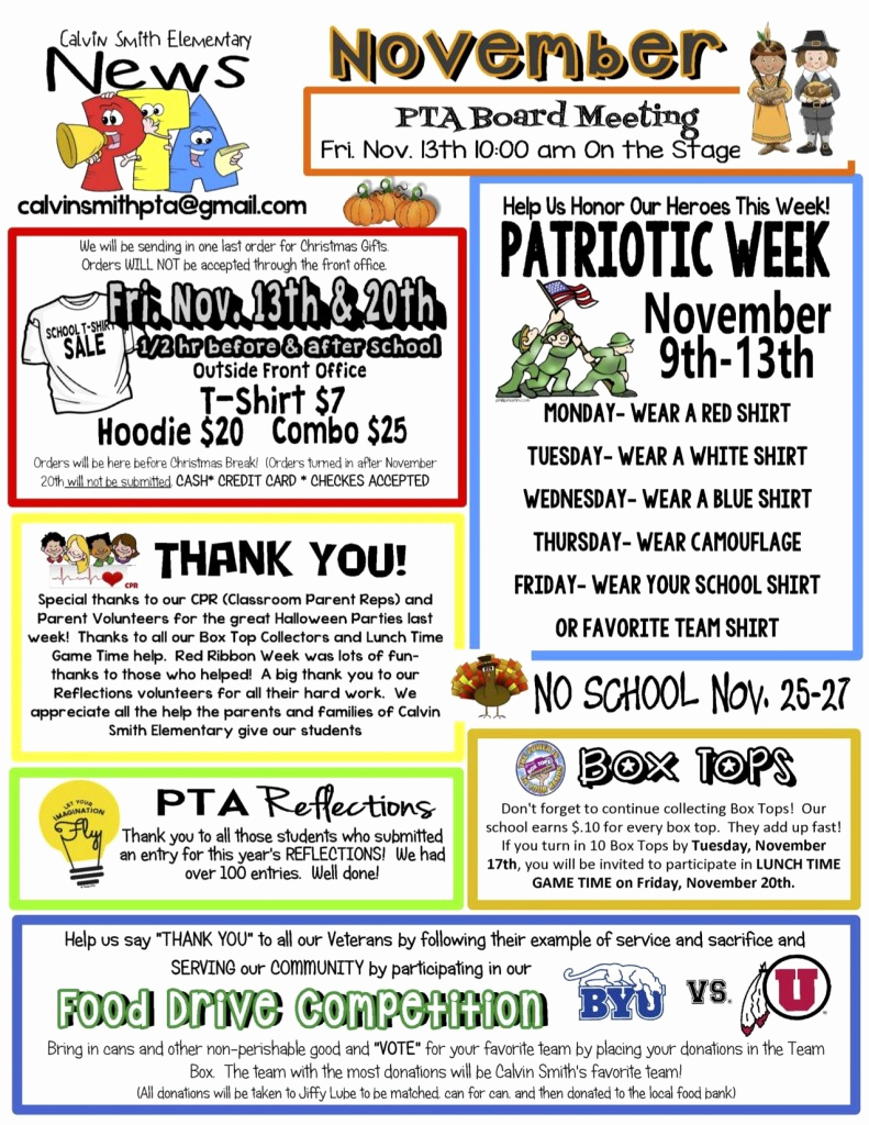 Elementary School Newsletter Template Luxury November Pta Newsletter