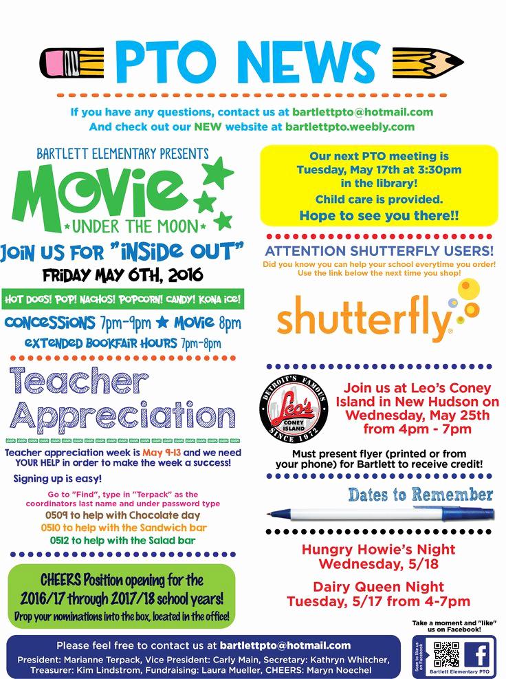Elementary School Newsletter Template Luxury Pto May Newsletter 2506×3361