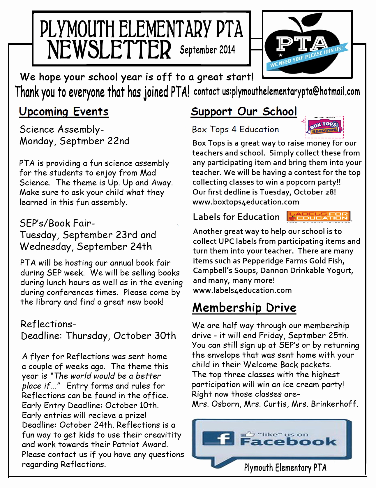 Elementary School Newsletter Template New Pta Newsletter for September