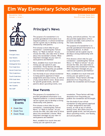 Elementary School Newsletter Template Unique Elementary School Newsletter Fice Templates