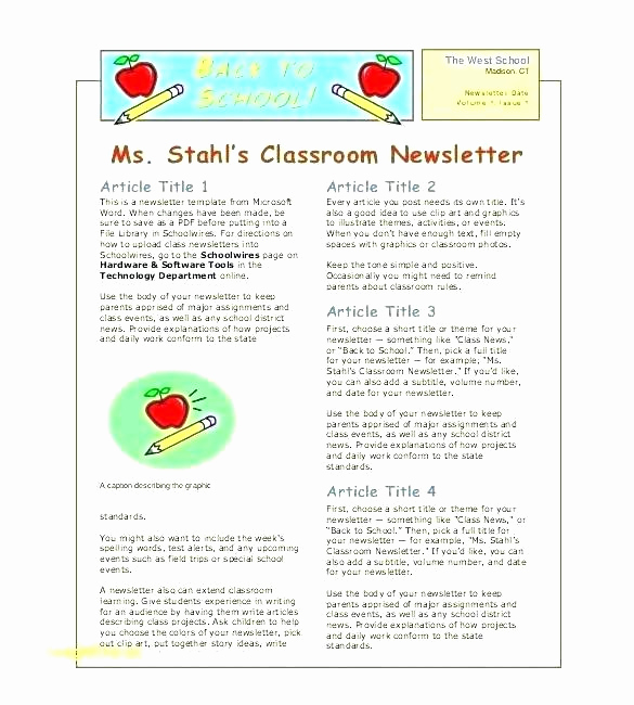 Elementary School Newsletter Template Unique Free Editable Teacher Newsletter Template by Elementary