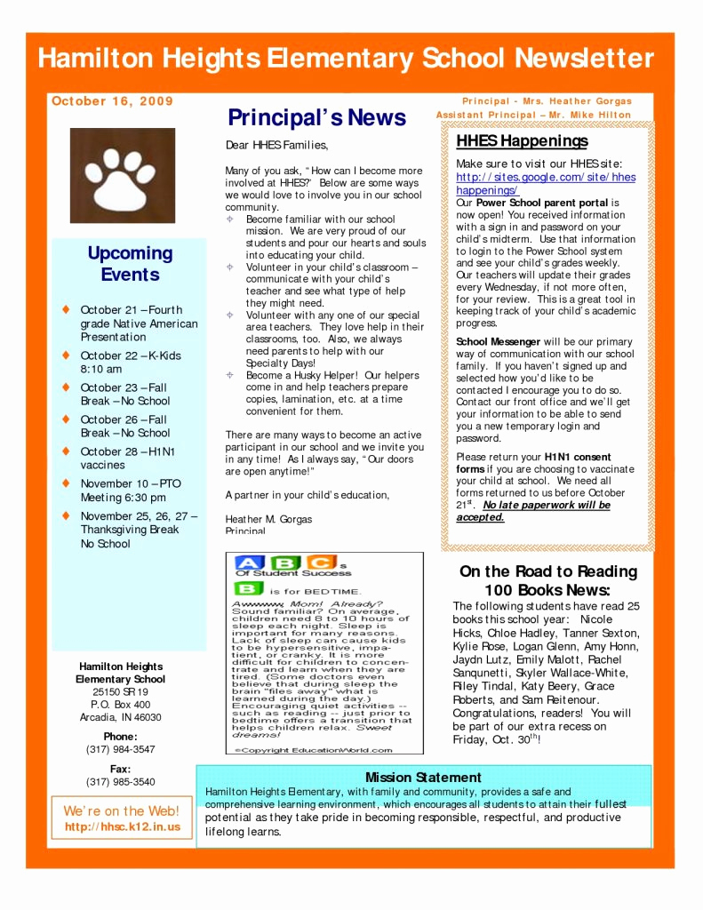 Elementary School Newsletter Template Unique Resume Responsibilities Newsletter Template Doc Fresh