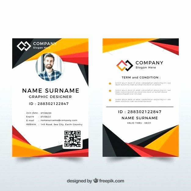 Employee Id Card Templates Awesome Id Card Template Free Download New Fresh Portrait