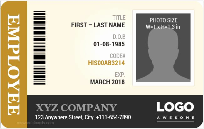 Employee Id Card Templates Best Of Employee Id Card Templates