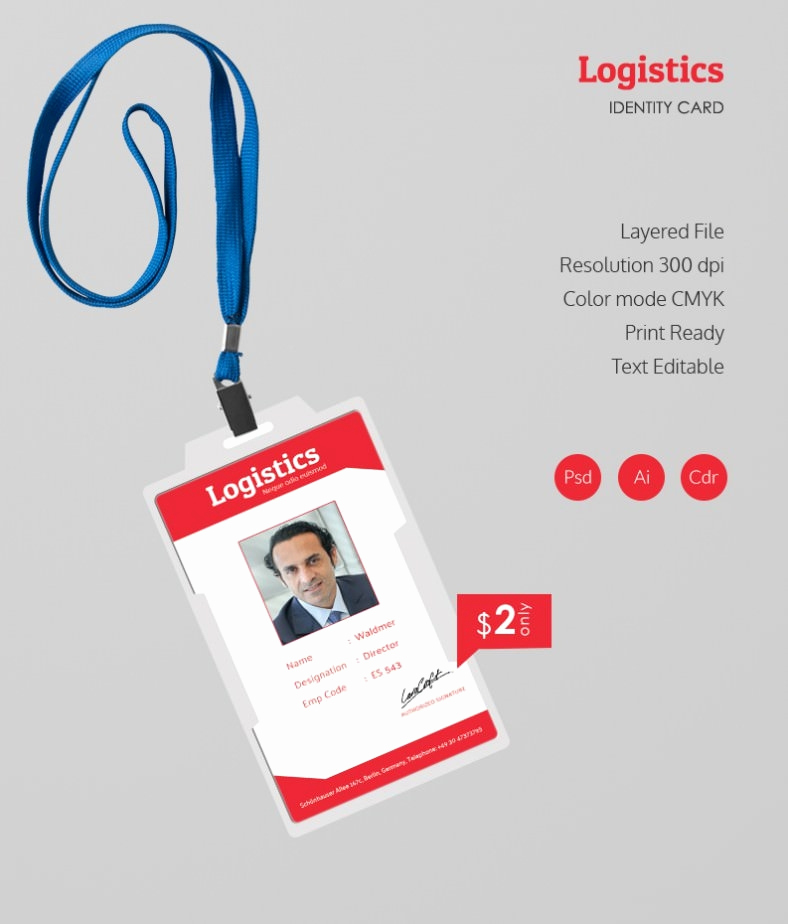 Employee Id Card Templates New Stunning Logistics Identity Card Template