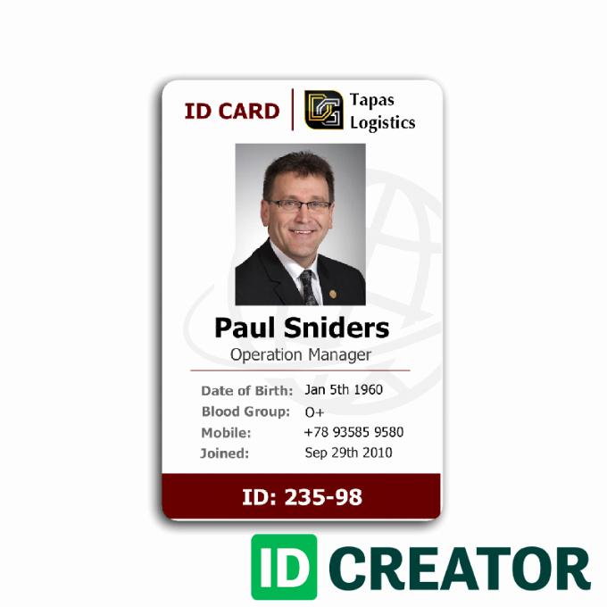 Employee Identity Card Template Luxury Employee Id Card 2 Card Templates