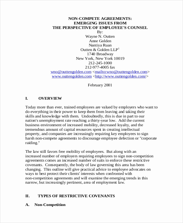 Employee Non Compete Agreement Template Beautiful 11 Employee Non Pete Agreement Templates Free Sample