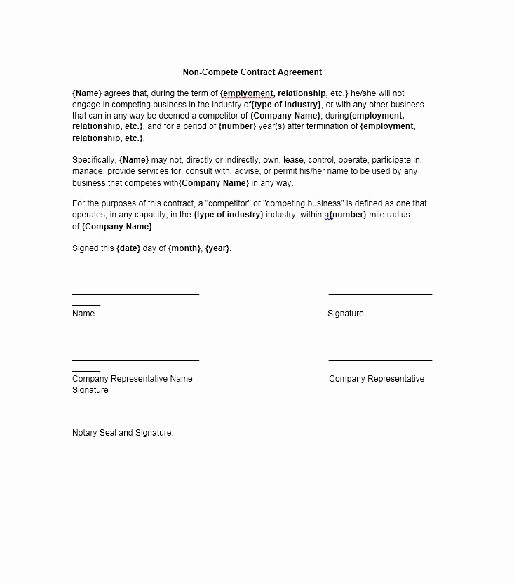 Employee Non Compete Agreement Template Best Of 39 Ready to Use Non Pete Agreement Templates Free