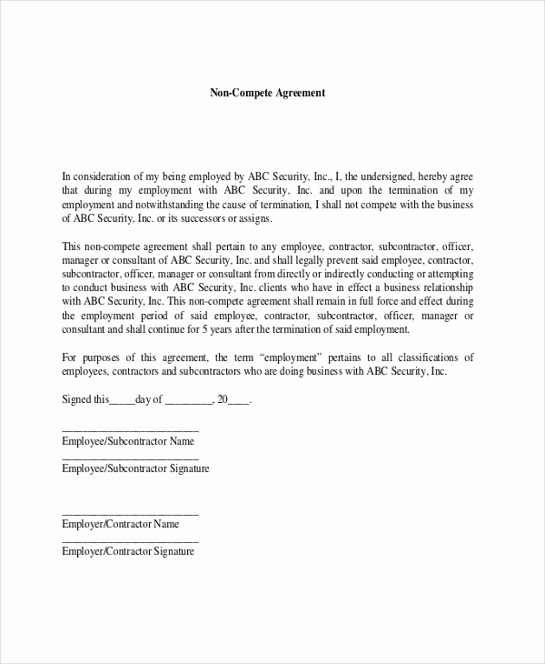 Employee Non Compete Agreement Template Best Of 9 Contractor Non Pete Agreement Templates Free